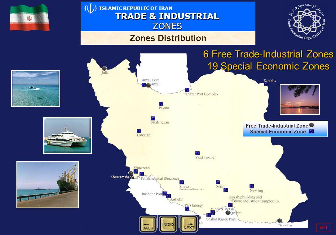 ISLAMIC REPUBLIC OF IRAN TRADE & INDUSTRIAL ZONES Zones Distribution Free Trade-Industrial Zone Special Economic Zone EXIT 6 Free Trade-Industrial Zon