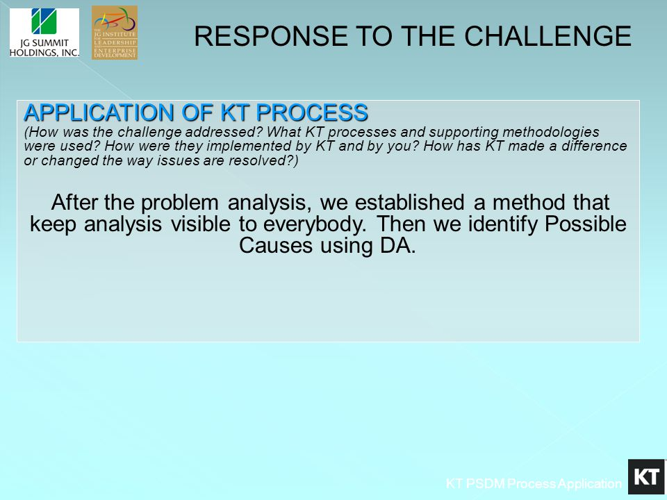 KT PSDM Process Application APPLICATION OF KT PROCESS APPLICATION OF KT PROCESS (How was the challenge addressed? What KT processes and supporting met