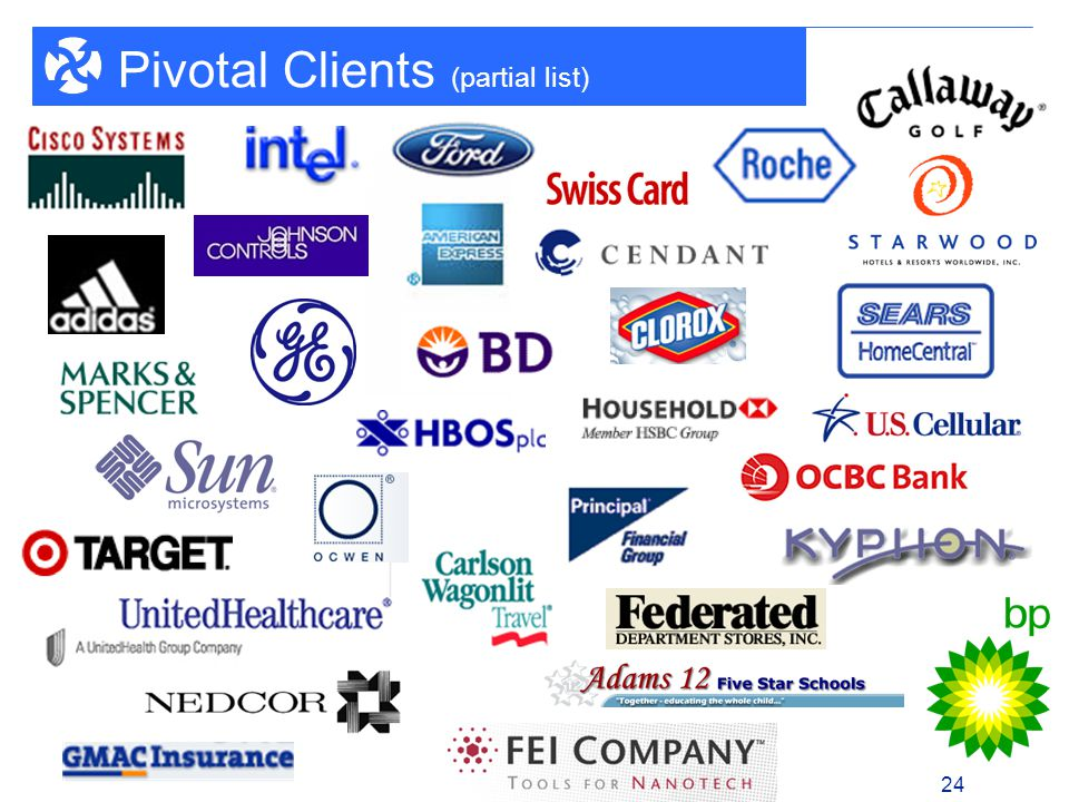 1 - 24 24 Pivotal Clients (partial list)
