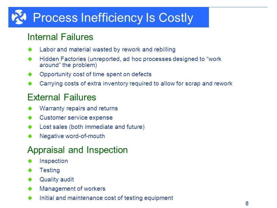 1 - 6 6 Process Inefficiency Is Costly Internal Failures Labor and material wasted by rework and rebilling Hidden Factories (unreported, ad hoc proces