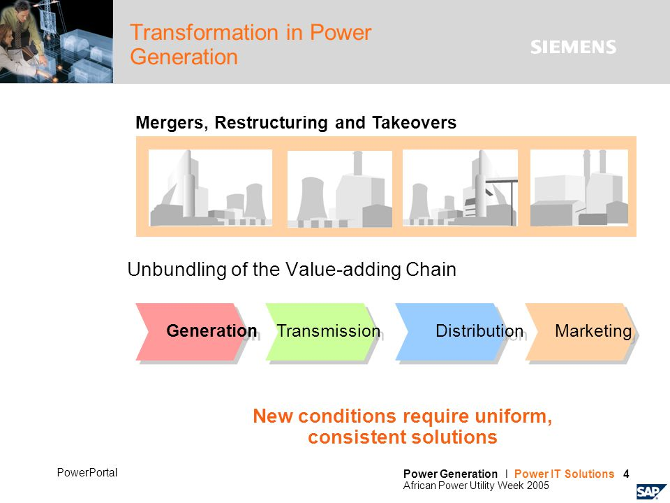 Power Generation l Power IT Solutions 4 African Power Utility Week 2005 PowerPortal Transformation in Power Generation Unbundling of the Value-adding