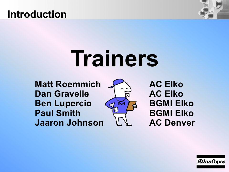 Matt RoemmichAC Elko Dan GravelleAC Elko Ben LupercioBGMI Elko Paul SmithBGMI Elko Jaaron JohnsonAC Denver Trainers Introduction