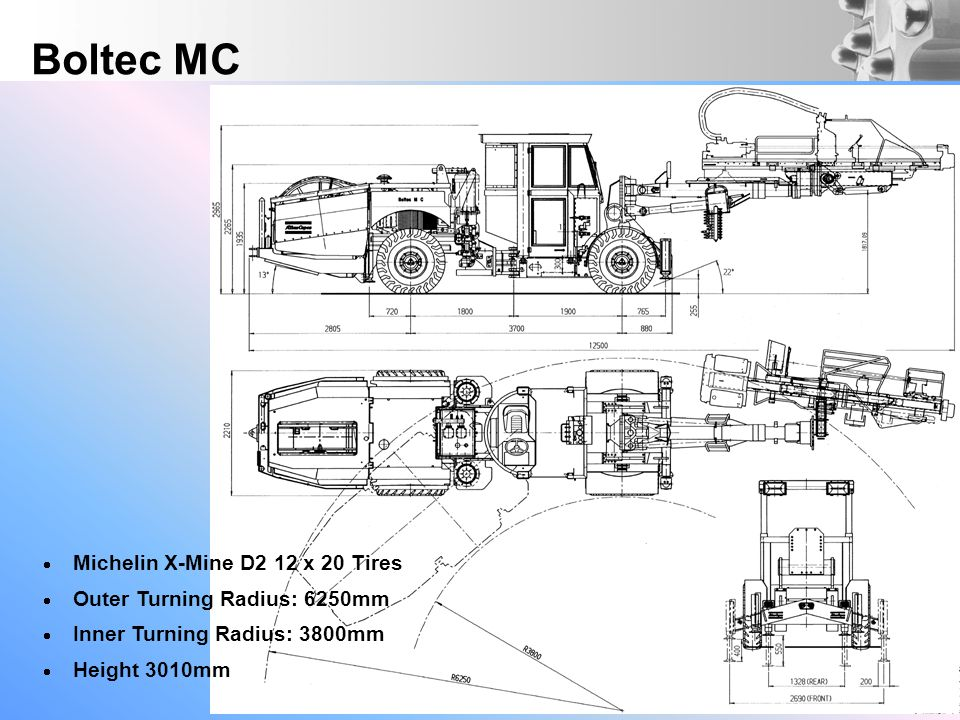Michelin X-Mine D2 12 x 20 Tires Outer Turning Radius: 6250mm Inner Turning Radius: 3800mm Height 3010mm Boltec MC