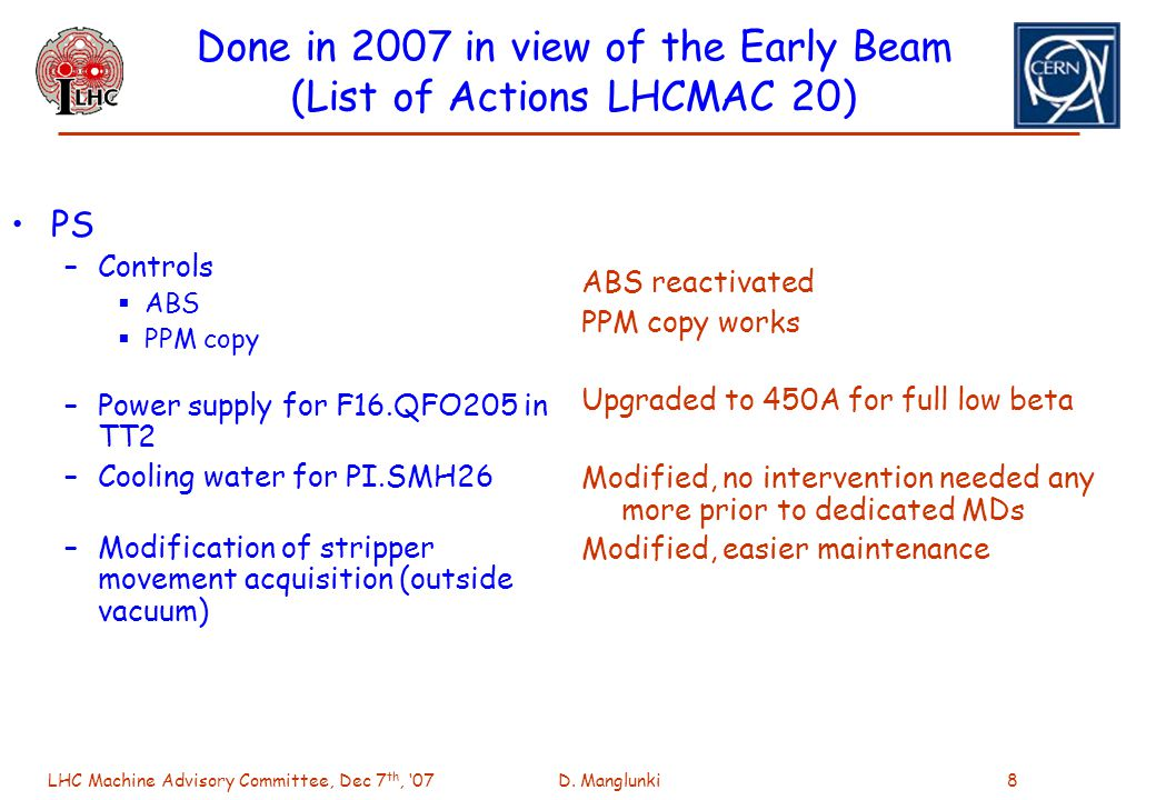 LHC Machine Advisory Committee, Dec 7 th, 07D. Manglunki8 Done in 2007 in view of the Early Beam (List of Actions LHCMAC 20) PS –Controls ABS PPM copy