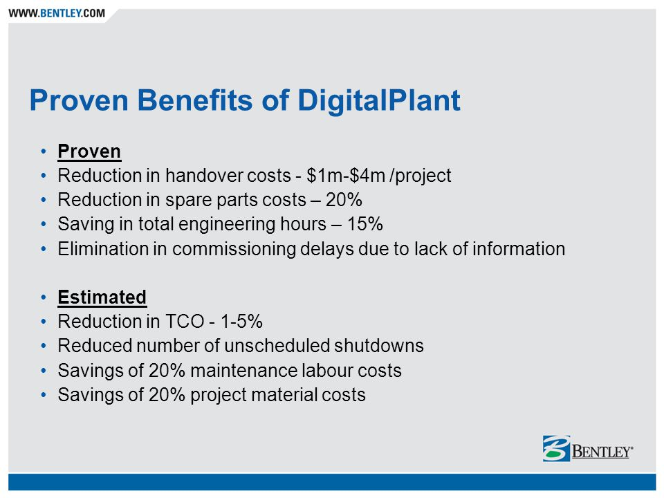 Proven Benefits of DigitalPlant Proven Reduction in handover costs - $1m-$4m /project Reduction in spare parts costs – 20% Saving in total engineering