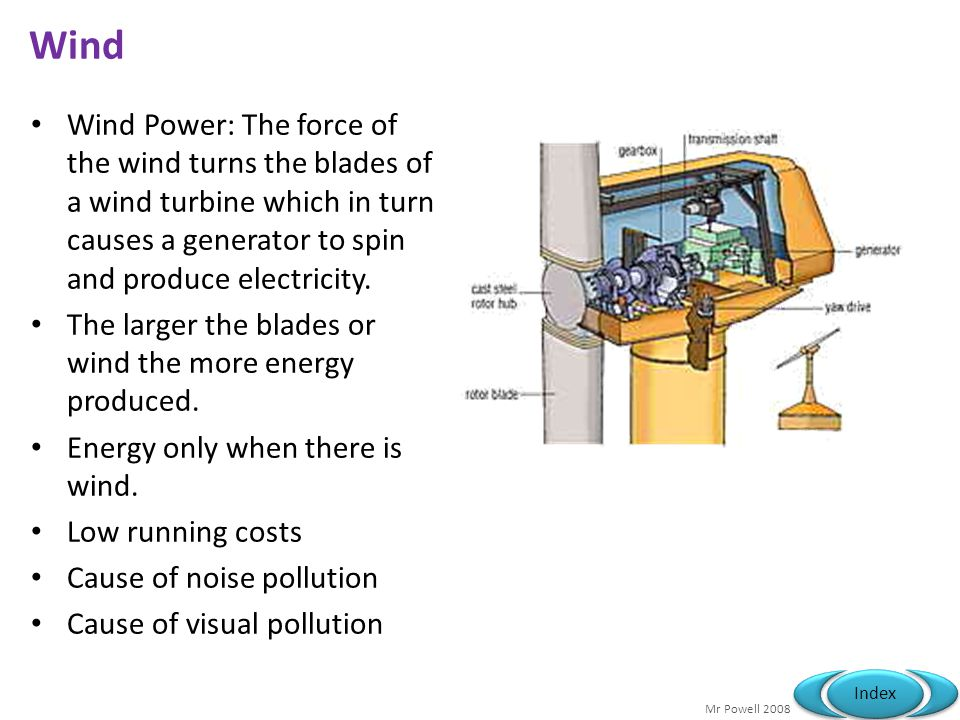 Mr Powell 2008 Index Wind Wind Power: The force of the wind turns the blades of a wind turbine which in turn causes a generator to spin and produce el