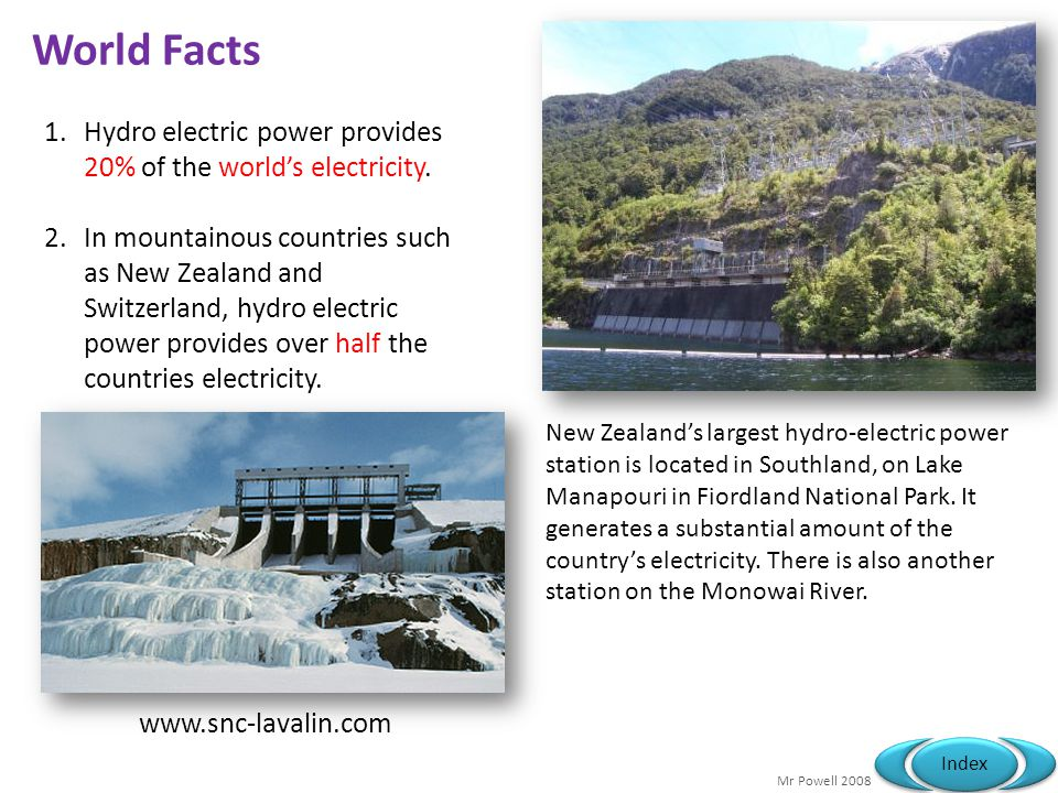 Mr Powell 2008 Index World Facts 1.Hydro electric power provides 20% of the worlds electricity. 2.In mountainous countries such as New Zealand and Swi