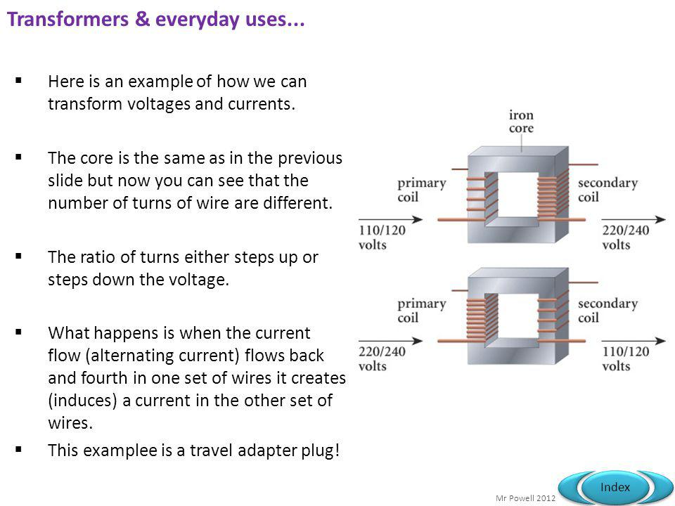 Mr Powell 2012 Index Transformers & everyday uses... Here is an example of how we can transform voltages and currents. The core is the same as in the