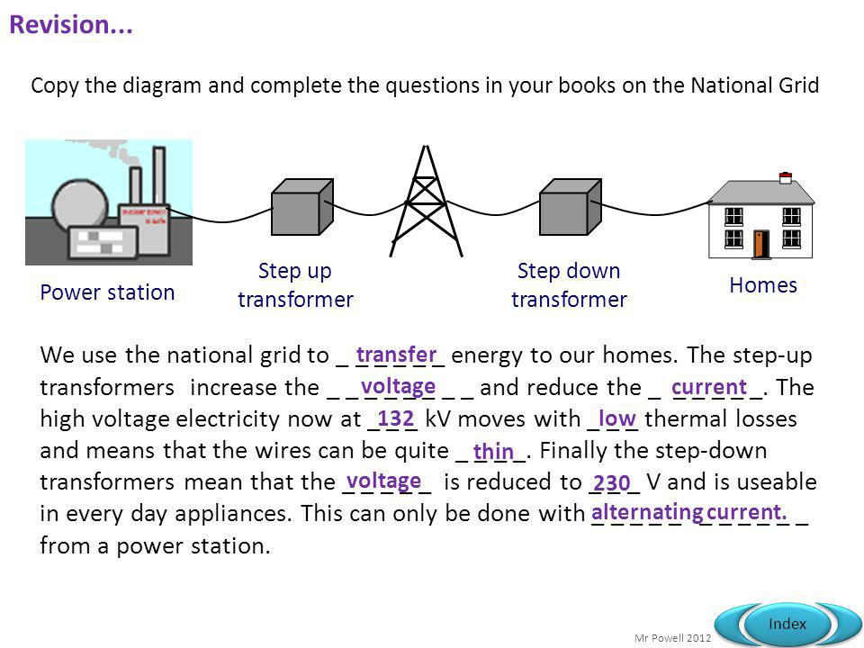 Mr Powell 2012 Index Revision... We use the national grid to _ _ _ _ _ _ energy to our homes. The step-up transformers increase the _ _ _ _ _ _ _ _ an