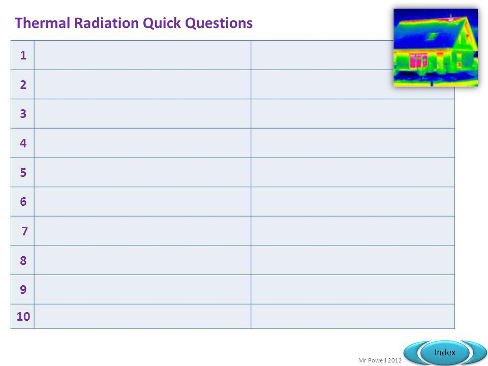 Mr Powell 2012 Index Thermal Radiation Quick Questions 1 2 3 4 5 6 7 8 9 10