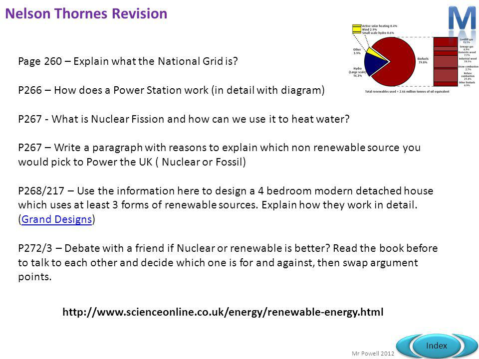 Mr Powell 2012 Index Nelson Thornes Revision Page 260 – Explain what the National Grid is? P266 – How does a Power Station work (in detail with diagra