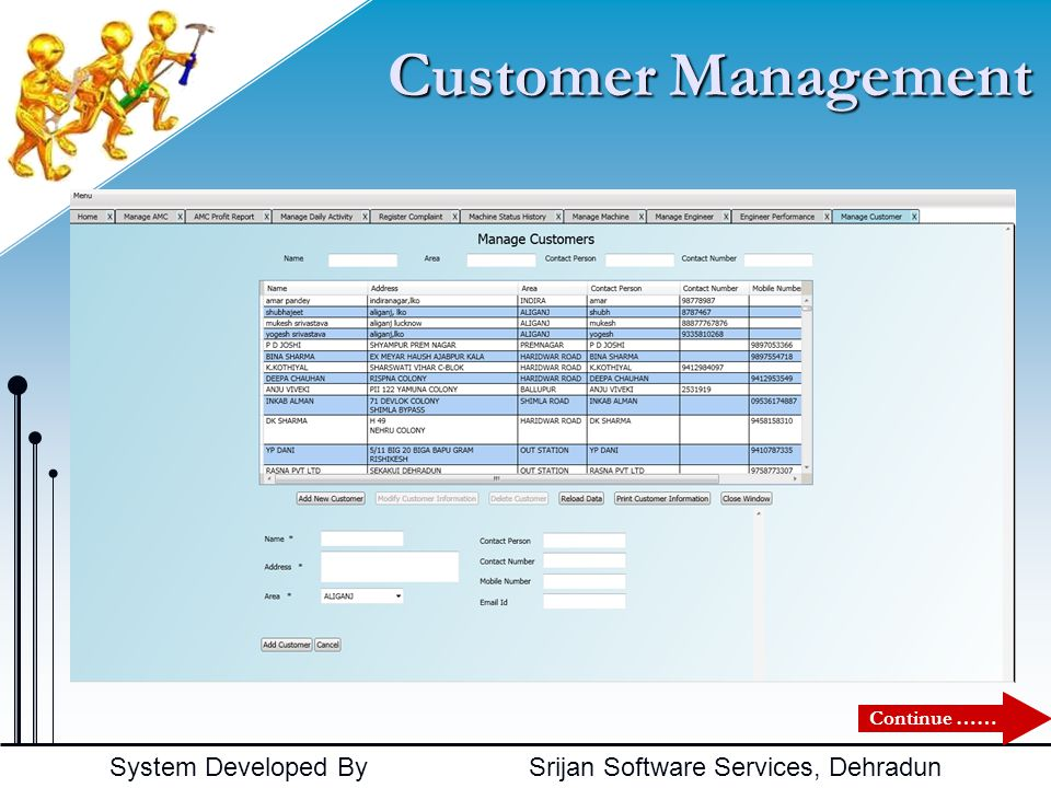 Customer Management Continue ……