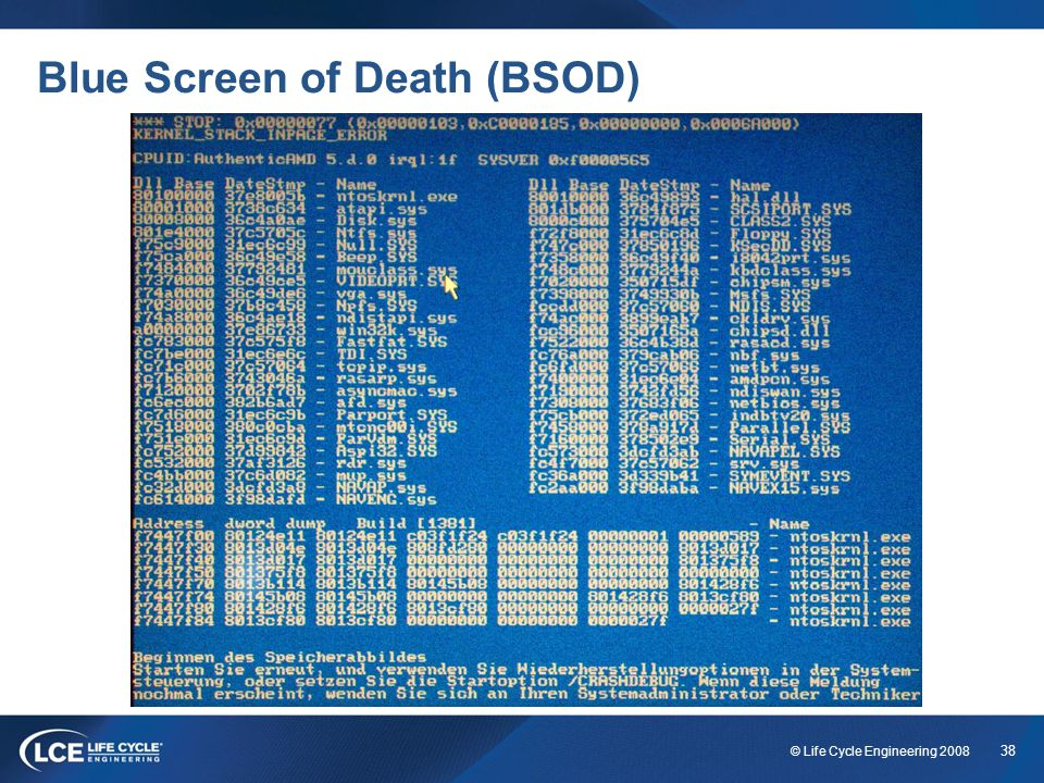 38 © Life Cycle Engineering 2008 Blue Screen of Death (BSOD)