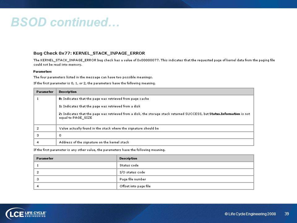 39 © Life Cycle Engineering 2008 BSOD continued…