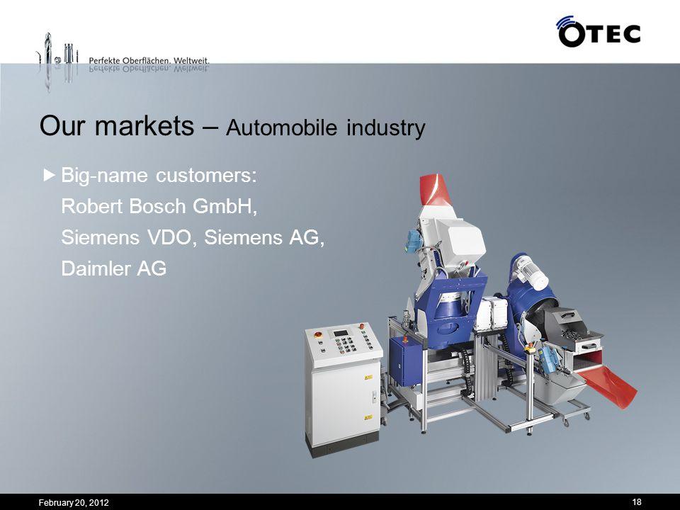 February 20, 2012 18 Our markets – Automobile industry Big-name customers: Robert Bosch GmbH, Siemens VDO, Siemens AG, Daimler AG