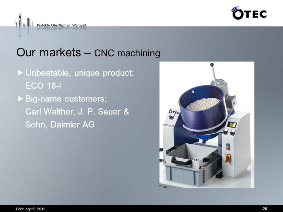 February 20, 2012 20 Unbeatable, unique product: ECO 18-I Big-name customers: Carl Walther, J. P. Sauer & Sohn, Daimler AG Our markets – CNC machining