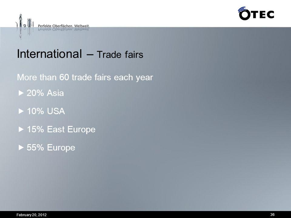International – Trade fairs More than 60 trade fairs each year 20% Asia 10% USA 15% East Europe 55% Europe 36 February 20, 2012