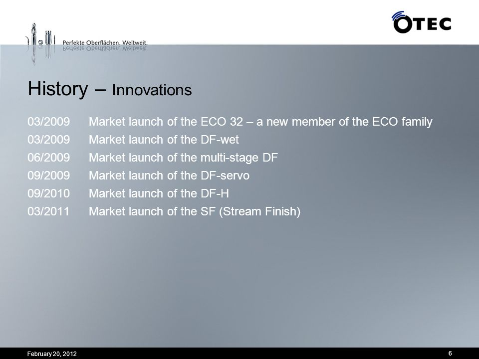 February 20, 2012 6 History – Innovations 03/2009Market launch of the ECO 32 – a new member of the ECO family 03/2009Market launch of the DF-wet 06/20