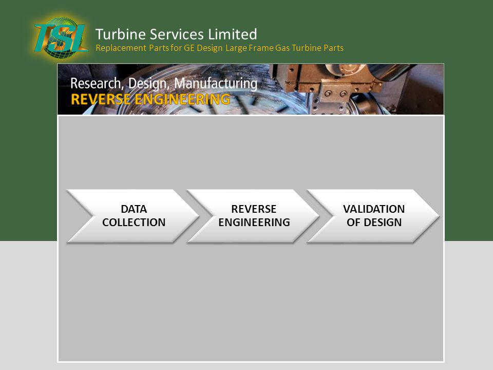 Turbine Services Limited Replacement Parts for GE Design Large Frame Gas Turbine Parts DATA COLLECTION REVERSE ENGINEERING VALIDATION OF DESIGN