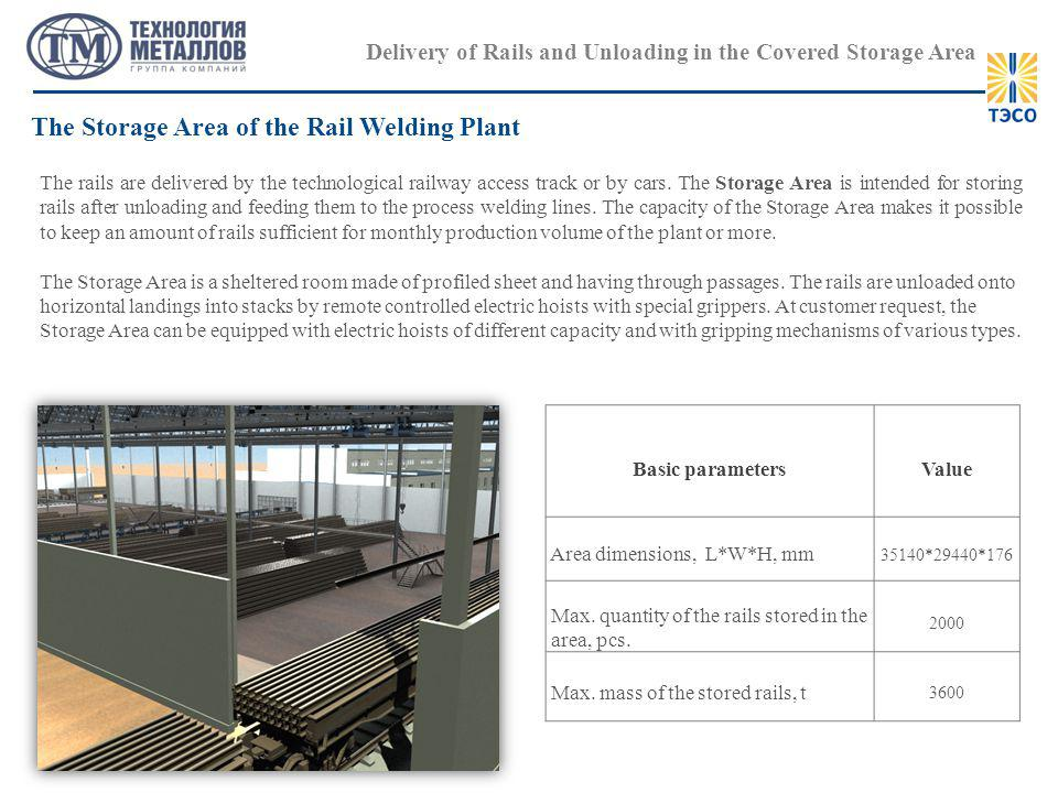 Delivery of Rails and Unloading in the Covered Storage Area The rails are delivered by the technological railway access track or by cars.