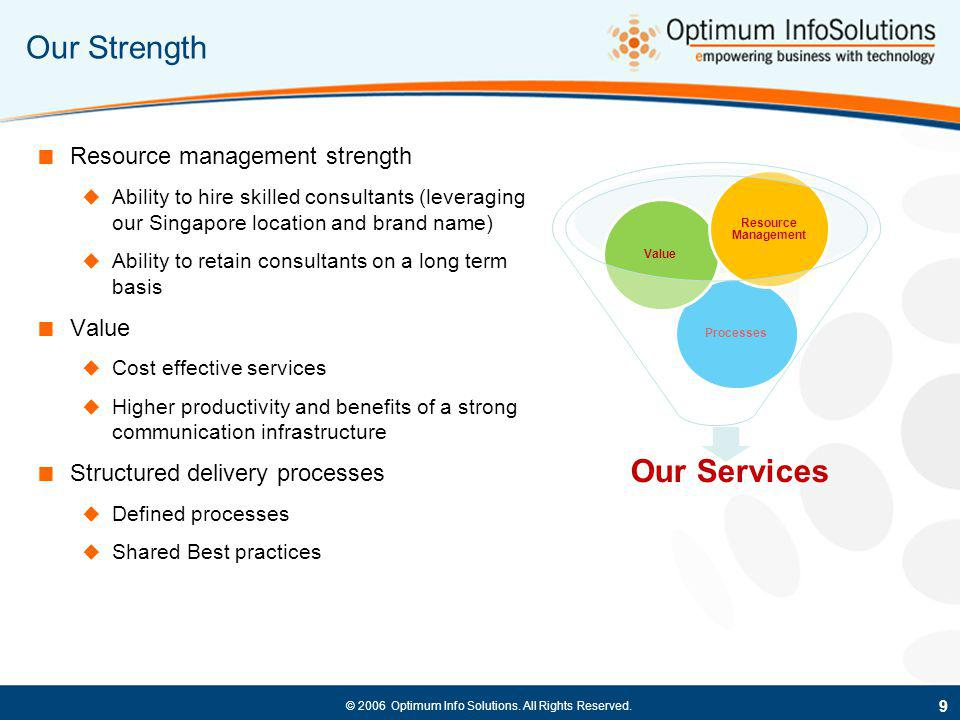 © 2006 Optimum Info Solutions. All Rights Reserved. Our Strength Resource management strength Ability to hire skilled consultants (leveraging our Sing