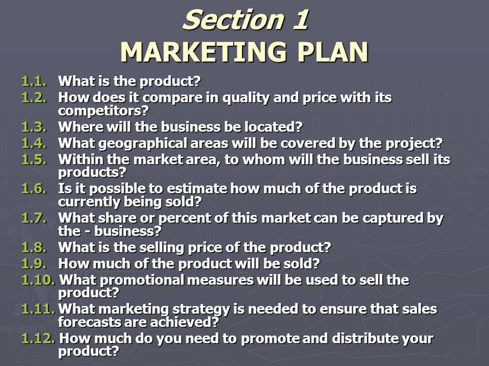 Section 1 MARKETING PLAN 1.1.What is the product. 1.2.