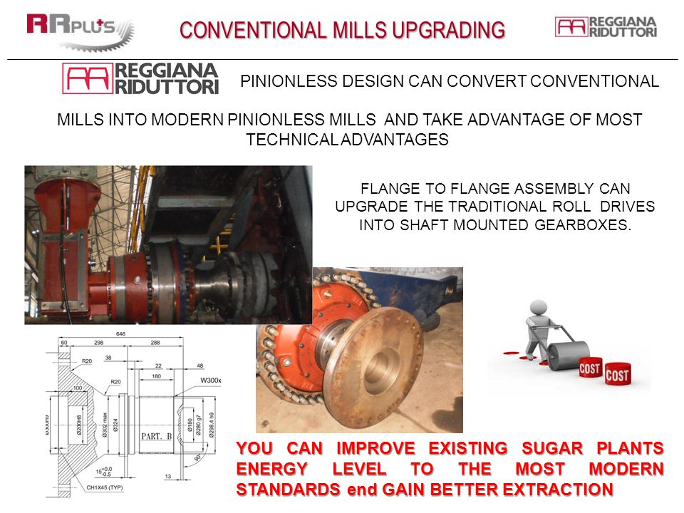 CONVENTIONAL MILLS UPGRADING PINIONLESS DESIGN CAN CONVERT CONVENTIONAL MILLS INTO MODERN PINIONLESS MILLS AND TAKE ADVANTAGE OF MOST TECHNICAL ADVANT