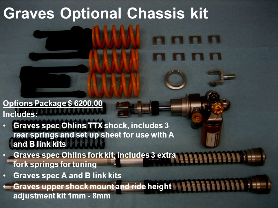 Graves Optional Chassis kit Options Package $ 6200.00 Includes: Graves spec Ohlins TTX shock, includes 3 rear springs and set up sheet for use with A