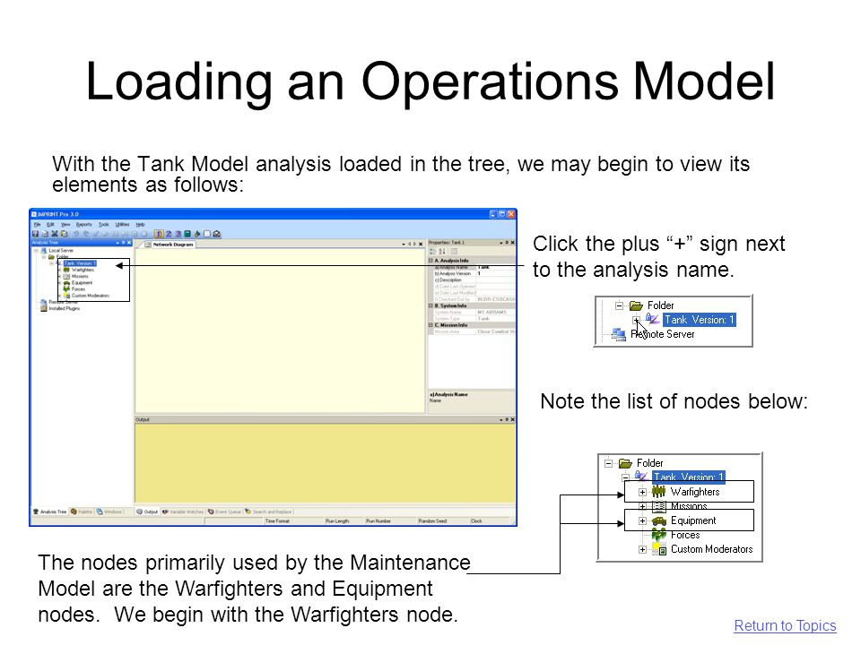 Loading an Operations Model With the Tank Model analysis loaded in the tree, we may begin to view its elements as follows: Click the plus + sign next to the analysis name.