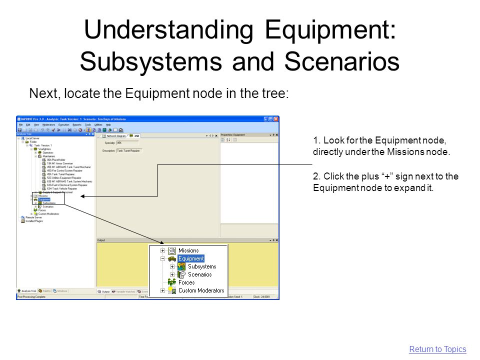 Understanding Equipment: Subsystems and Scenarios Next, locate the Equipment node in the tree: 2.