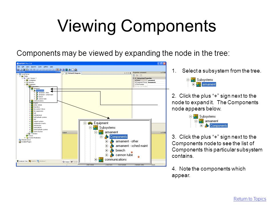 Viewing Components Components may be viewed by expanding the node in the tree: * * 1.Select a subsystem from the tree.