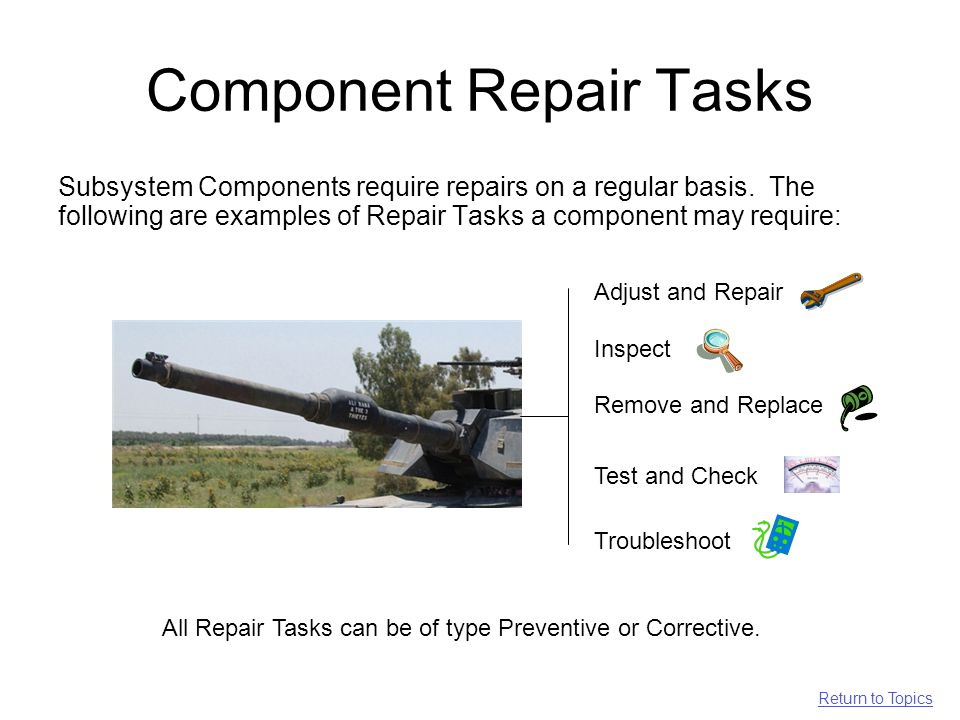 Component Repair Tasks Subsystem Components require repairs on a regular basis.