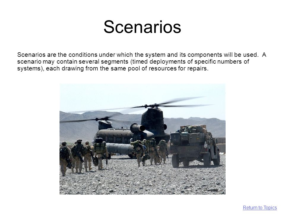 Scenarios Scenarios are the conditions under which the system and its components will be used.