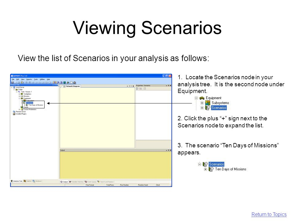 Viewing Scenarios View the list of Scenarios in your analysis as follows: 1.