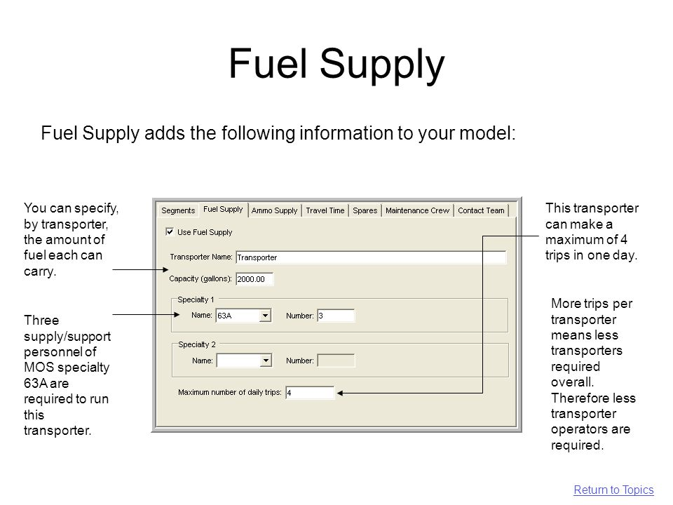 Fuel Supply Fuel Supply adds the following information to your model: You can specify, by transporter, the amount of fuel each can carry.