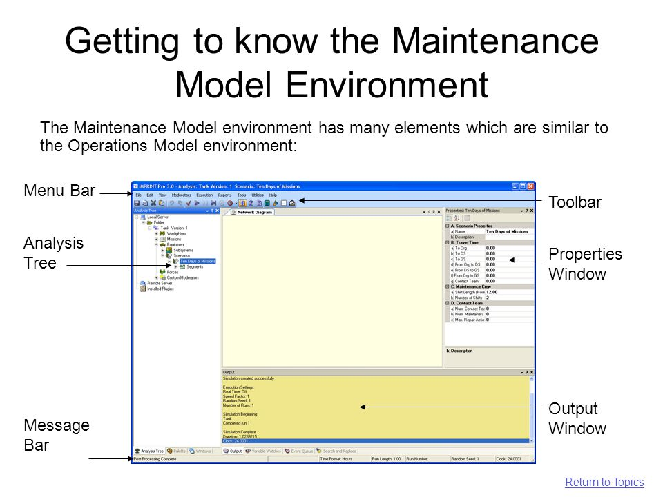 Getting to know the Maintenance Model Environment The Maintenance Model environment has many elements which are similar to the Operations Model environment: Toolbar Analysis Tree Message Bar Properties Window Output Window Menu Bar Return to Topics