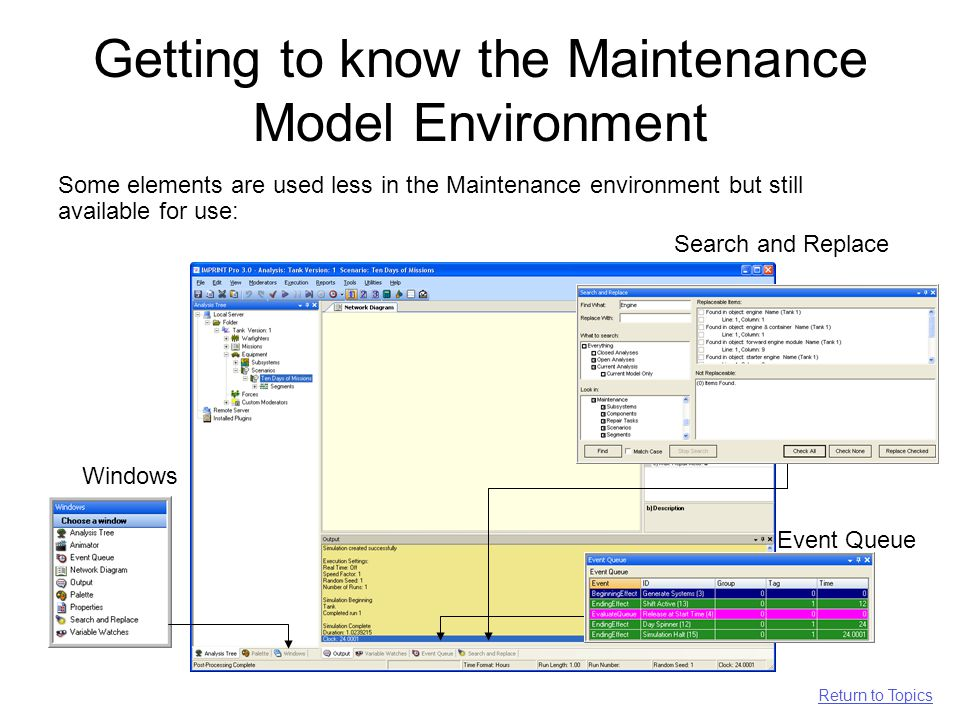 Getting to know the Maintenance Model Environment Some elements are used less in the Maintenance environment but still available for use: Event Queue Search and Replace Return to Topics Windows
