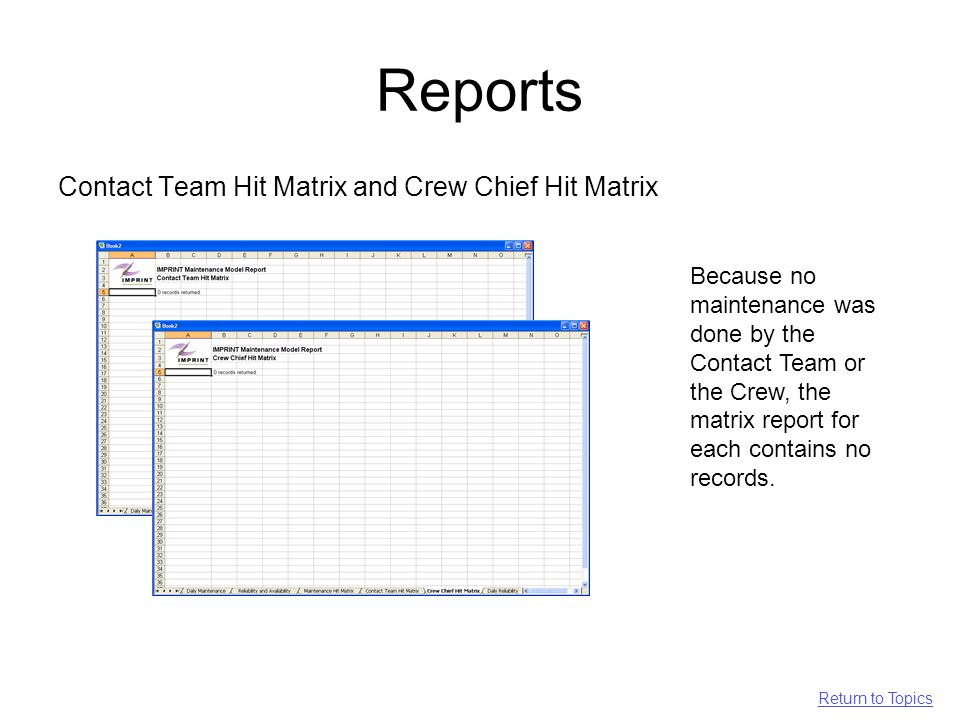 Reports Contact Team Hit Matrix and Crew Chief Hit Matrix Because no maintenance was done by the Contact Team or the Crew, the matrix report for each contains no records.