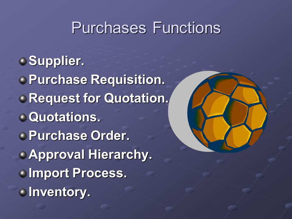 Purchases Purchases module is a part of inventory and procurement management family, purchases is the highly flexible Software to fullfil the purchases and stores needs.
