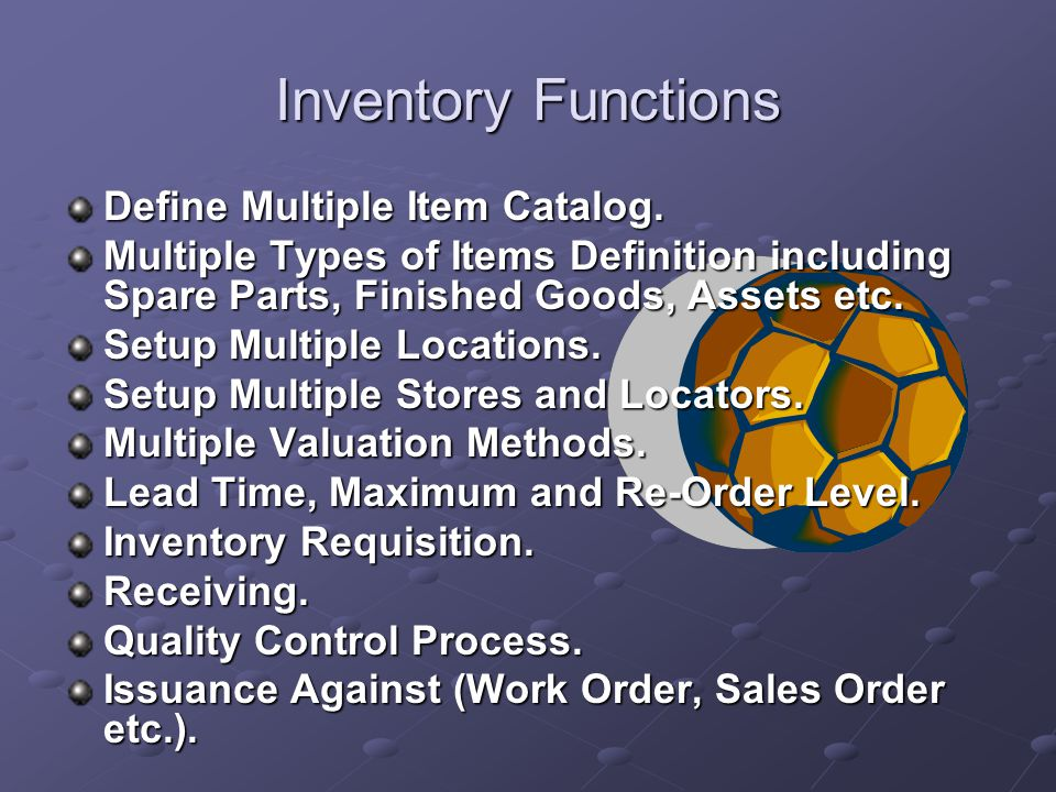 Inventory Inventory module is a part of inventory and procurement management family, inventory is the highly flexible Software to fulfill the inventory and stores needs.
