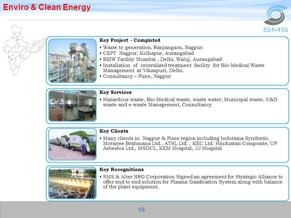 Enviro & Clean Energy Key Project - Completed Waste to generation, Ranjangaon, Nagpur. CEPT Nagpur, Kolhapur, Aurangabad BMW Facility Mumbai, Delhi, W
