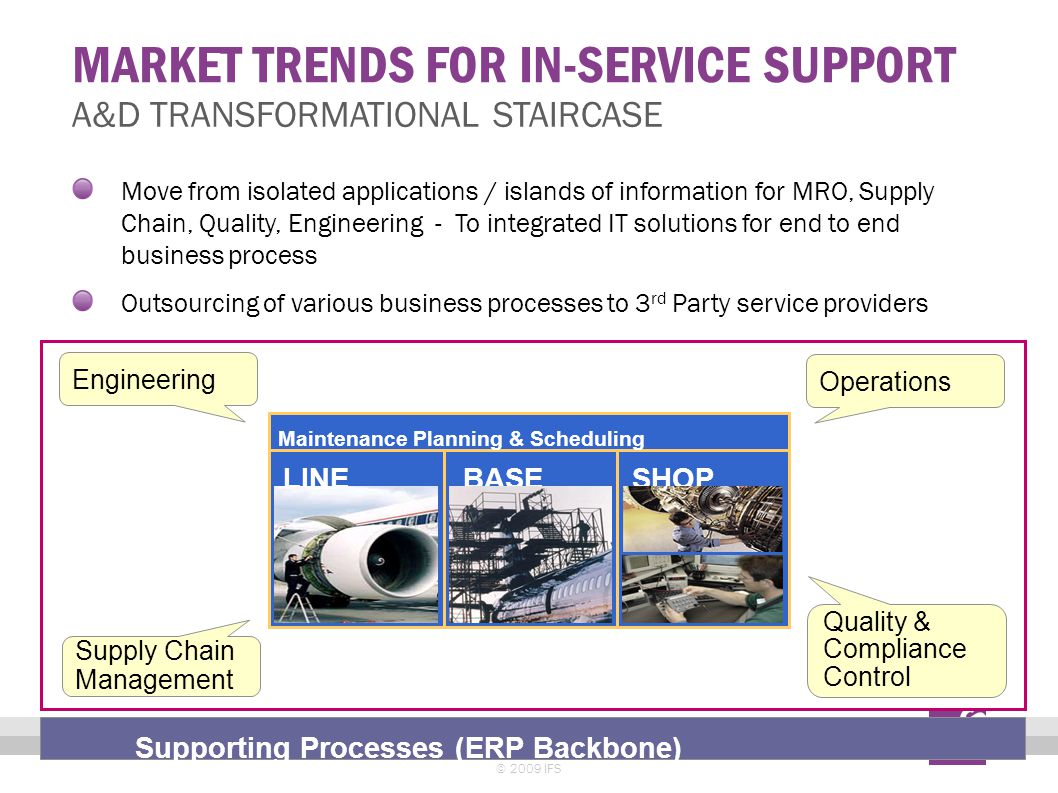 MARKET TRENDS FOR IN-SERVICE SUPPORT © 2009 IFS 16 A&D TRANSFORMATIONAL STAIRCASE Move from isolated applications / islands of information for MRO, Su