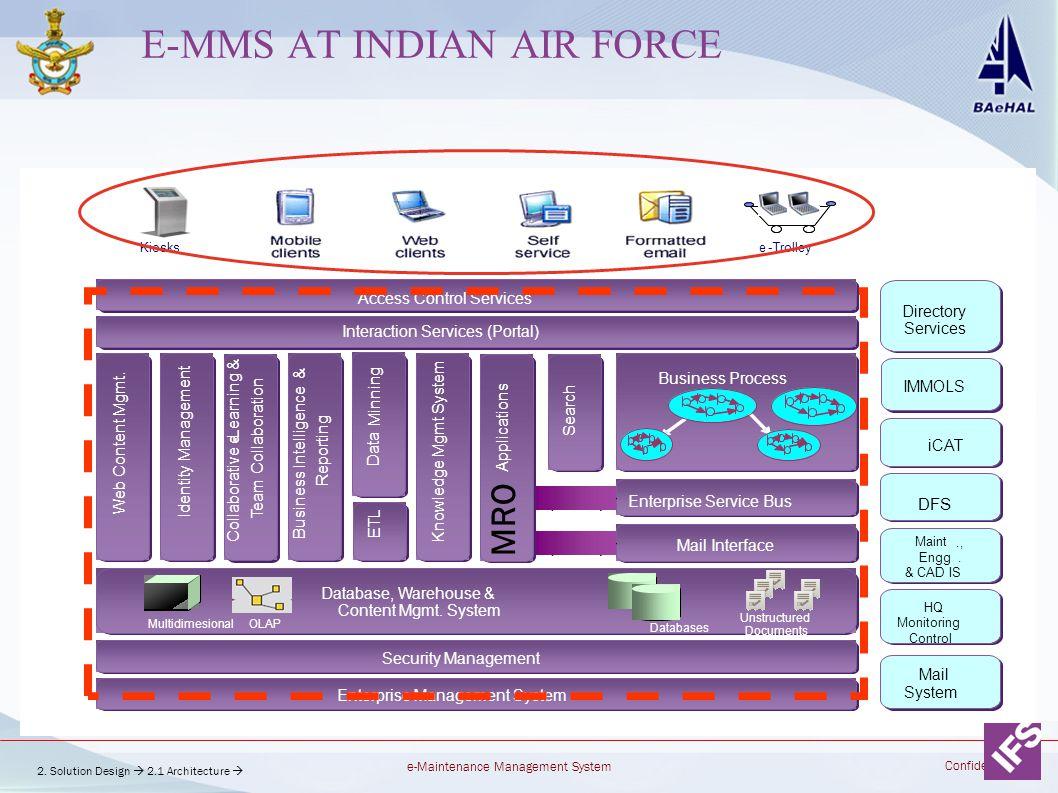 e-Maintenance Management System Confidential E-MMS AT INDIAN AIR FORCE Enterprise Service Bus Business Process Interaction Services (Portal) Access Co