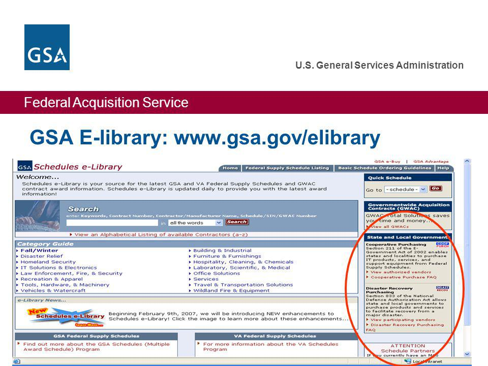 Federal Acquisition Service U.S. General Services Administration 31 GSA E-library: www.gsa.gov/elibrary