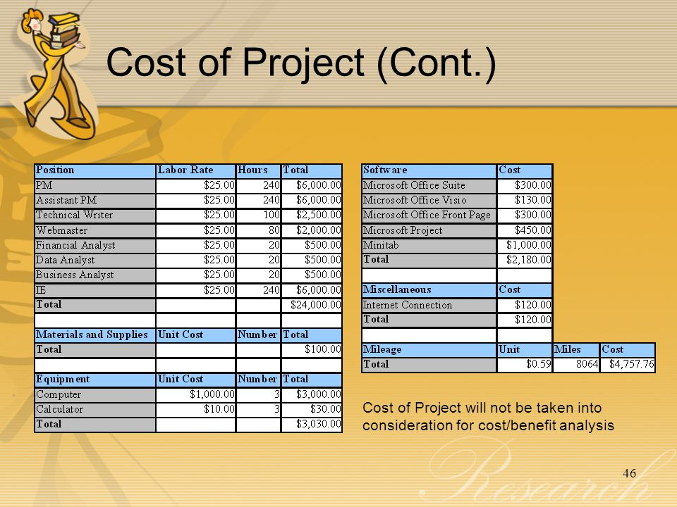 46 Cost of Project (Cont.) Cost of Project will not be taken into consideration for cost/benefit analysis