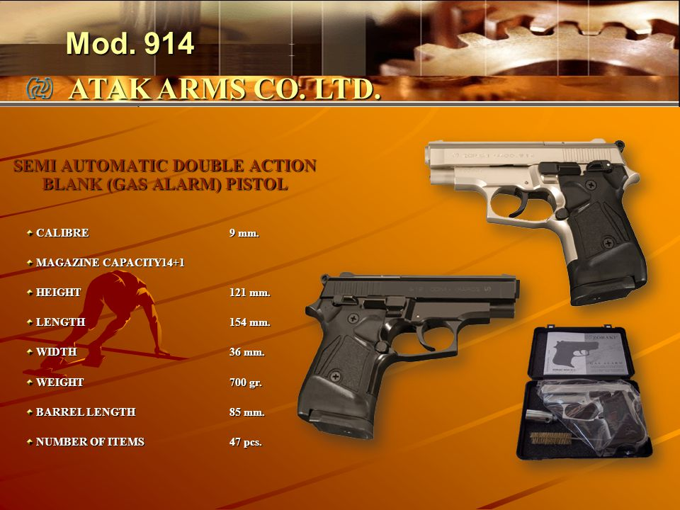 SEMI AUTOMATIC DOUBLE ACTION BLANK (GAS ALARM) PISTOL CALIBRE9 mm.