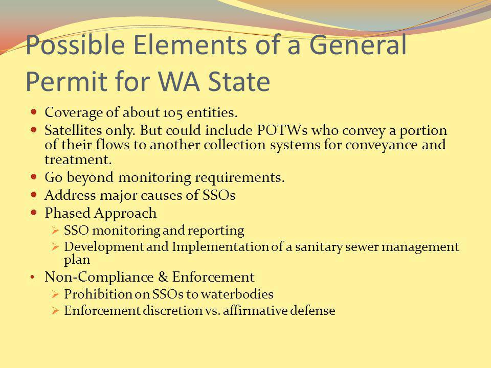 Possible Elements of a General Permit for WA State Coverage of about 105 entities.