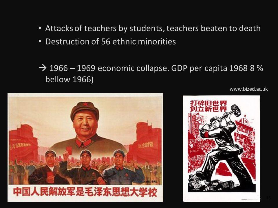 15 Attacks of teachers by students, teachers beaten to death Destruction of 56 ethnic minorities 1966 – 1969 economic collapse.