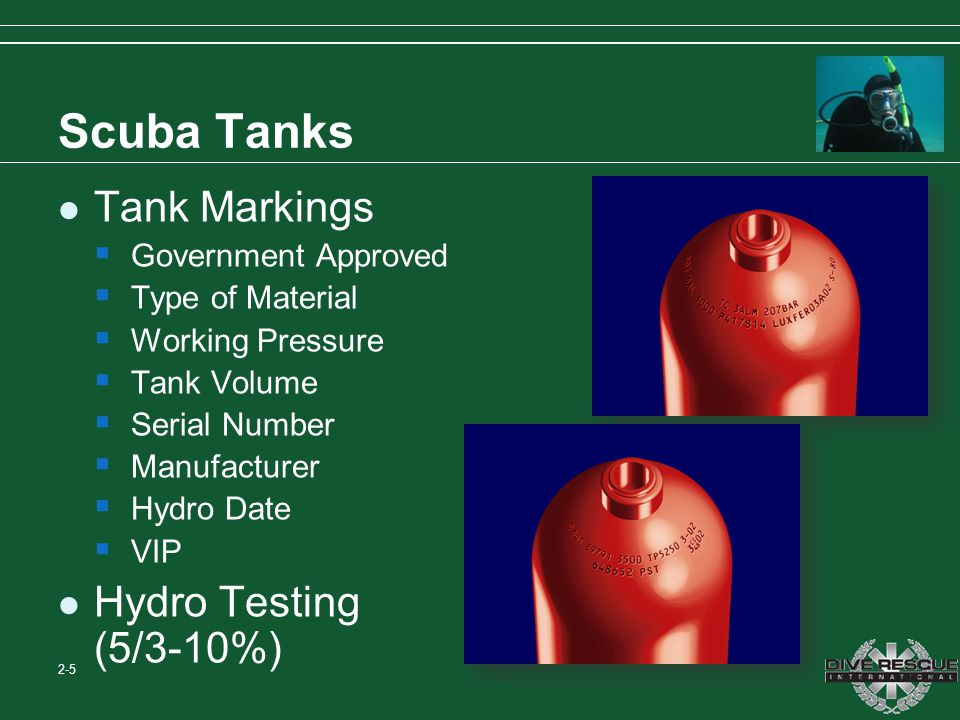 Scuba Tanks Tank Markings Government Approved Type of Material Working Pressure Tank Volume Serial Number Manufacturer Hydro Date VIP Hydro Testing (5