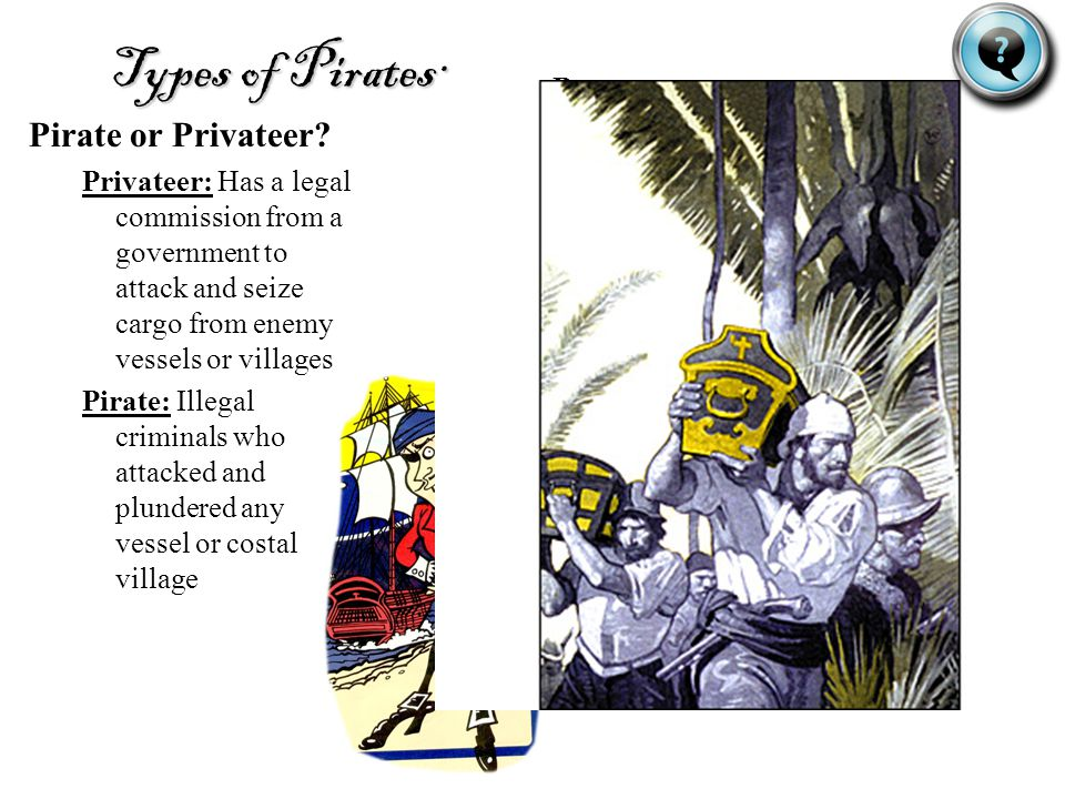 Types of Pirates: Pirate or Privateer.